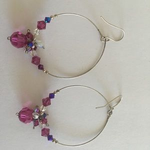 Jewelry - Custom made silver and crystal bead earrings.